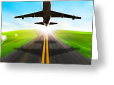Road And Plane Greeting Card by Setsiri Silapasuwanchai