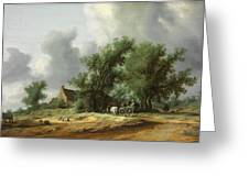 Road In The Dunes With A Passenger Coach After The Rain1631 Greeting Card