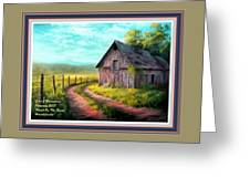 Road On The Farm Haroldsville L A With Decorative Ornate Printed Frame.  Greeting Card