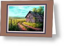 Road On The Farm Haroldsville L B With Alt. Decorative Ornate Printed Frame.   Greeting Card