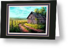 Road On The Farm Haroldsville L B With Decorative Ornate Printed Frame. Greeting Card