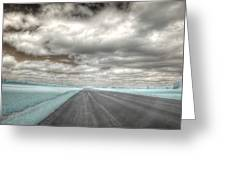 Road Sky Infrared Clouds Landscape Open Road Travel Path Road Trip Greeting Card