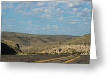 Road Through New Mexico Desert High Noon Greeting Card