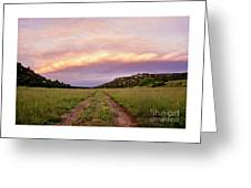 Road Through New Mexico Landscape At Sunrise Greeting Card