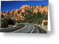 Road Through Red Canyon State Park Greeting Card