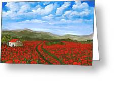 Road Through The Poppy Field Greeting Card