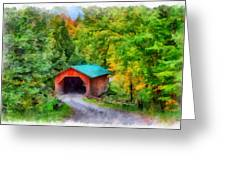 Road To The Covered Bridge Greeting Card