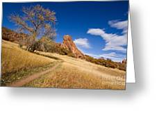 Road To The Rocky Blue Greeting Card