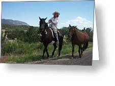 Roadside Horses Greeting Card