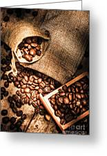Roasted Coffee Beans In Drawer And Bags On Table Greeting Card
