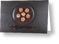 Roasted Shrimps Served On Plate Greeting Card