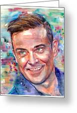 Robbie Williams Portrait Greeting Card