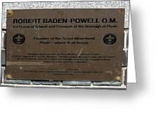 Robert Baden-powell Plaque Greeting Card