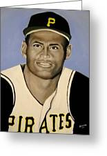 Roberto Clemente Greeting Card by Edwin Alverio