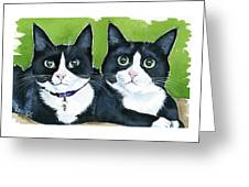 Robin And Batcat - Twin Tuxedo Cat Painting Greeting Card