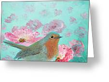 Robin In A Field Of Poppies Greeting Card