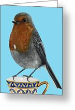 Robin On Cup Greeting Card