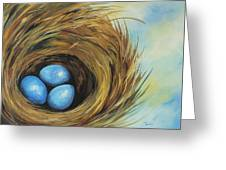 Robin's Three Eggs II Greeting Card