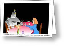 Robot Dining Cartoon Greeting Card