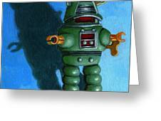 Robot Dream - Realism Still Life Painting Greeting Card by Linda Apple