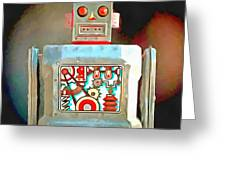 Robot Pop Art R-1 Greeting Card