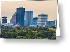 Rochester Ny Skyline At Dusk Greeting Card