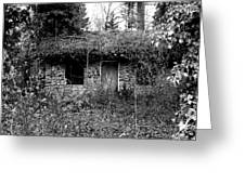 Rock Cabin Black And White Greeting Card