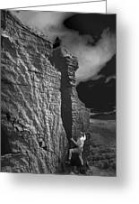Rock Climber Monochrome Landscape  Greeting Card