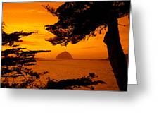 Rock In A Lake At Dusk, Morro Rock Greeting Card