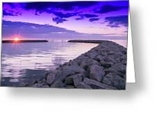 Rock Jetty Sunrise Greeting Card