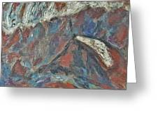 Rock Landscape Abstract  Fall Waves And Forests Swirling In The Background In Red Blue Orang Greeting Card