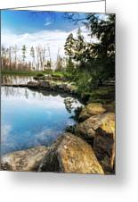 Rock Lined Pond Greeting Card