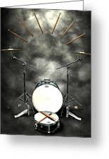 Rock N Roll Crest-the Drummer Greeting Card by Frederico Borges