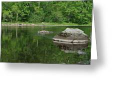 Rock Reflection In The River Greeting Card