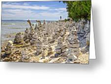 Rock Structures On Lake Michigan Greeting Card