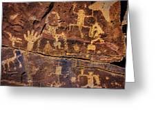 Rock Wall Of Petroglyphs Greeting Card