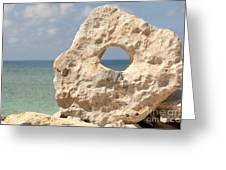Rock With A Hole With A Tropical Ocean In The Background. Greeting Card