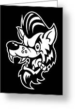 Rockabilly Wolf Head Greeting Card