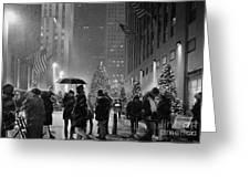 Rockefeller Center Christmas Tree Black And White Greeting Card