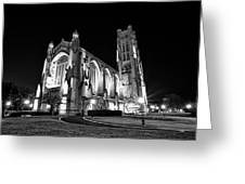 Rockefeller Chapel - B And W Greeting Card