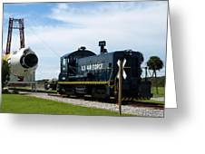 Rocket Locomotive At Cape Canaveral In Florida Greeting Card