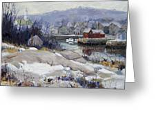Rockport Harbor In Winter Greeting Card