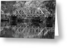Rocks Village Bridge In Black And White Greeting Card