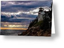 Rocky Cliffs Below Maine Lighthouse Greeting Card