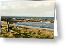 Rocky Coast Bench Greeting Card