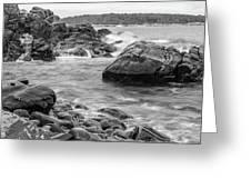 Rocky Coast Of Maine In Bw Greeting Card by Doug Camara