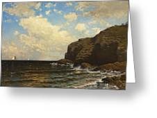 Rocky Coast With Breaking Wave Greeting Card
