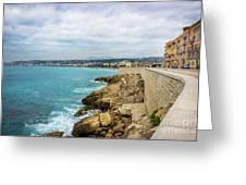 Rocky Coastline In Nice, France Greeting Card