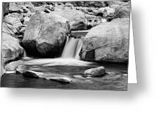 Rocky Mountain Canyon Waterfall In Black And White Greeting Card
