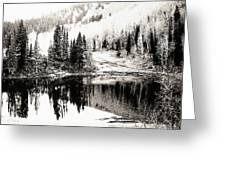 Rocky Mountain Lake - Black And White Greeting Card